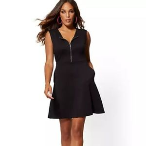 NY&Co Zip-Front Fit and Flare Cotton Dress